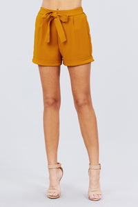 Front Tie W/elastic Band Short Pants