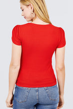 Load image into Gallery viewer, Short Tulip Puff Sleeve Round Neck Rib Knit Top