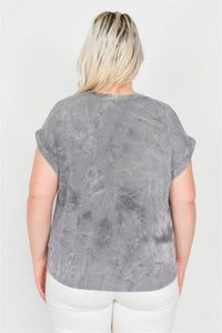 Plus Size Grey Sleeveless Basic U-shape Hem Top