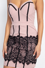 Load image into Gallery viewer, Contrast Trim Lace Mini Dress