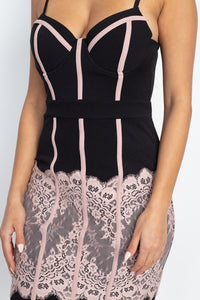 Contrast Trim Lace Mini Dress