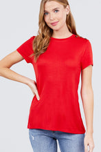 Load image into Gallery viewer, Short Sleeve Crew Neck W/shoulder Button Detail Rayon Spandex Top