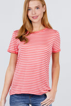 Load image into Gallery viewer, Short Sleeve Crew Neck Stripe Rayon Spandex Ringer Knit Top