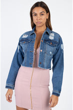 Load image into Gallery viewer, Distressed Frayed Denim Jacket