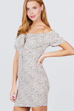 Load image into Gallery viewer, Short Sleeve Off The Shoulder All Over Smocked Print Woven Mini Dress