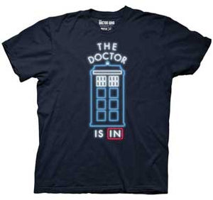 The Doctor Is In Tardis Neon Sign Mens Lightweight T-Shirt