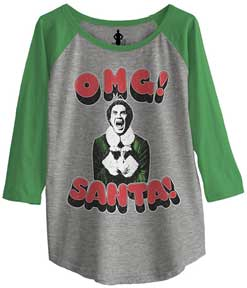 Omg! Santa! 3D Text Junior Baseball Raglan