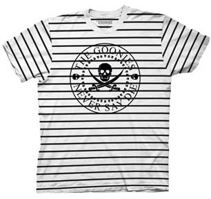 Circle Skull Never Say Die Breton Stripe Mens T-Shirt