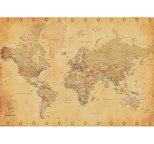 World Map - Vintage Style 39In X 55In Giant Poster