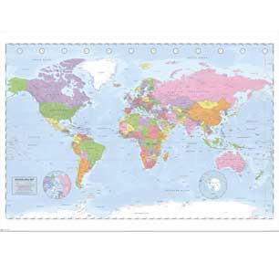 Political World Map - Miller P 39In X 55In Giant Poster