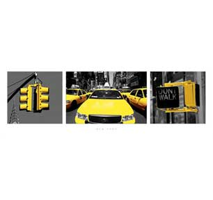 New York - Yellow Triptych 12In X 36In Slim Poster