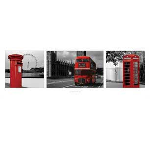London - Red Triptych 12In X 36In Slim Poster