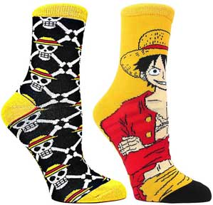 Luffy & Skulls 2-Pack Mens Socks