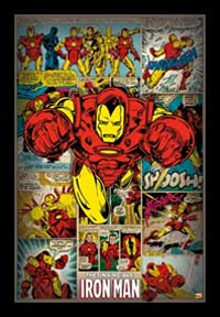 Iron Man Panels Framed Art Print