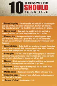 10 Reasons To Drink Alcohol 24In X 36In Poster