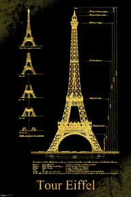 Eiffel Tower Design 24In X 36In Poster