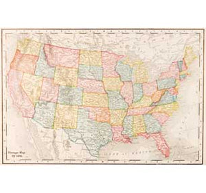 Map Of Usa - Vintage 1896 24In X 36In Poster