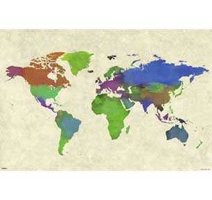 World Map - Watercolor 24In X 36In Poster