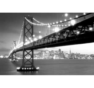 Golden Gate Bridge At Night 24In X 36In Poster