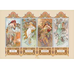 Mucha - 4 Seasons 24In X 36In Poster