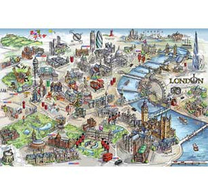 London Map Illustration 24In X 36In Poster