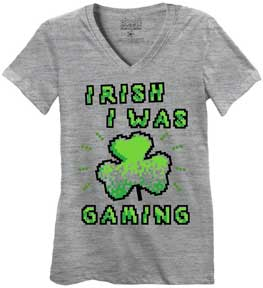 Irish I Was Gaming Juniors V-Neck T-Shirt
