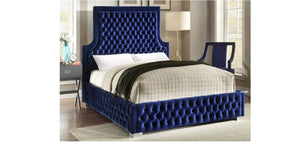 IF 5601 Blue Velvet Platform Bed [NEW]