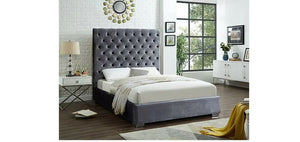 IF 5630 Grey Velvet Platform Bed [NEW]