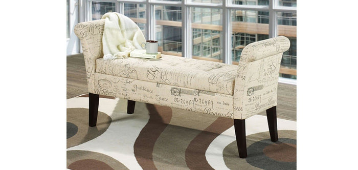 IF 668-F Storage Bench Beige French Fabric [NEW]