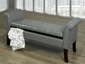 IF 668-CH Storage Bench Charcoal PU [NEW]