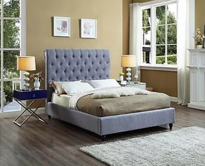 IF 5765-Q Grey Fabric Bed with Nailhead Details [NEW]