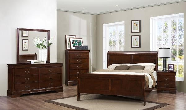 MAZ-2147-Q6 Complete 6 Piece Bedroom Set Cherry [NEW]