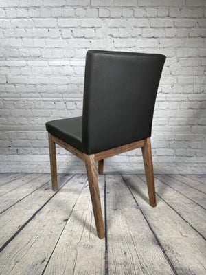 Set of 4 Grey Dining Chairs With Wood Trim [MHF]