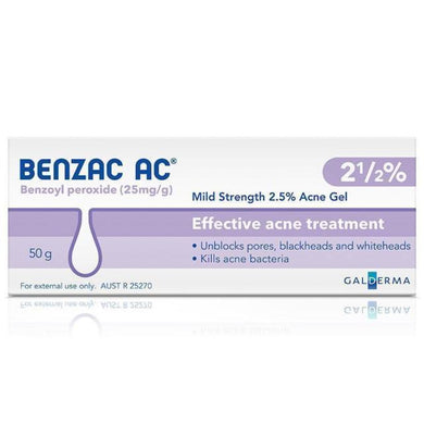 Benzac AC Water Based Acne Gel 2.5% 50g - Corner Pharmacy