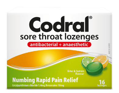 Sore Throat Lozenges Antibacterial + Anaesthetic Lime & Lemon Flavour 16 s - Corner Pharmacy