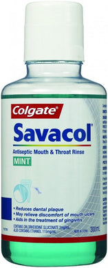 Colgate Savacol Antiseptic Mouth & Throat Rinse Mint 300 ml - Corner Pharmacy