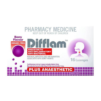 Difflam Plus Anaesthetic Sugar Free Lozenges - Corner Pharmacy