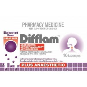 Difflam Plus Anaesthetic Sugar Free Throat Lozenges Blackcurrant 16s - Corner Pharmacy