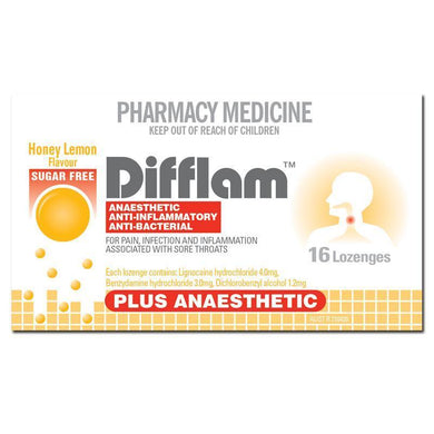 Difflam Plus Anaesthetic Sugar Free Throat Lozenges Honey Lemon 16s - Corner Pharmacy