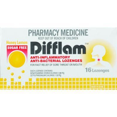 Difflam Throat Lozenges Sugar Free Honey Lemon 16 s - Corner Pharmacy