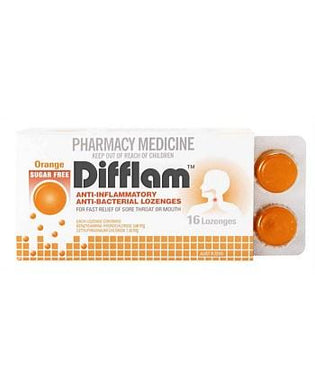 Difflam Throat Lozenges Sugar Free Orange 16 s - Corner Pharmacy