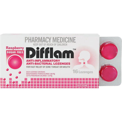 Difflam Throat Lozenges Sugar Free Raspberry 16 s - Corner Pharmacy