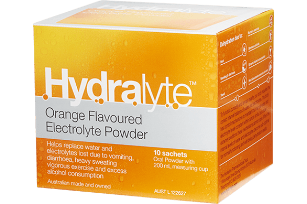 Hydralyte Orange Flavoured Electrolyte Powder 10 Sachets - Corner Pharmacy