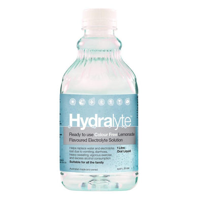 Hydralyte Ready To Use Colour Free Lemonade Flavoured Electrolyte Solution 1 Litre Oral Liquid - Corner Pharmacy