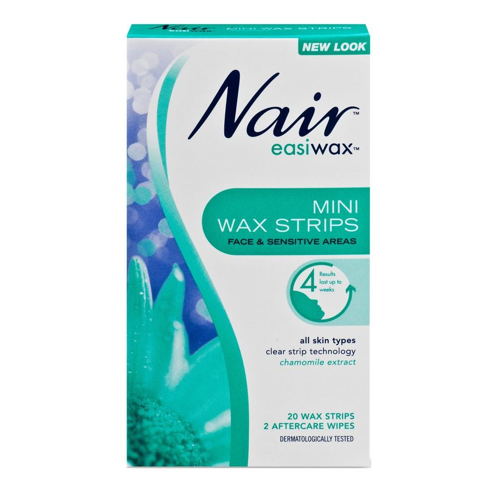 Nair EasiWax Mini Wax Strips Face & Sensitive Areas 20 Wax Strips 2 Aftercare Wipes - Corner Pharmacy