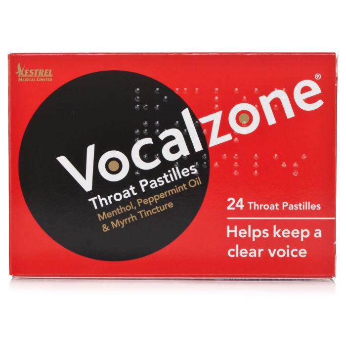 Vocalzone Throat Pastilles Peppermint Oil, Myrrh Tincture & Menthol 24 Throat Pastilles - Corner Pharmacy