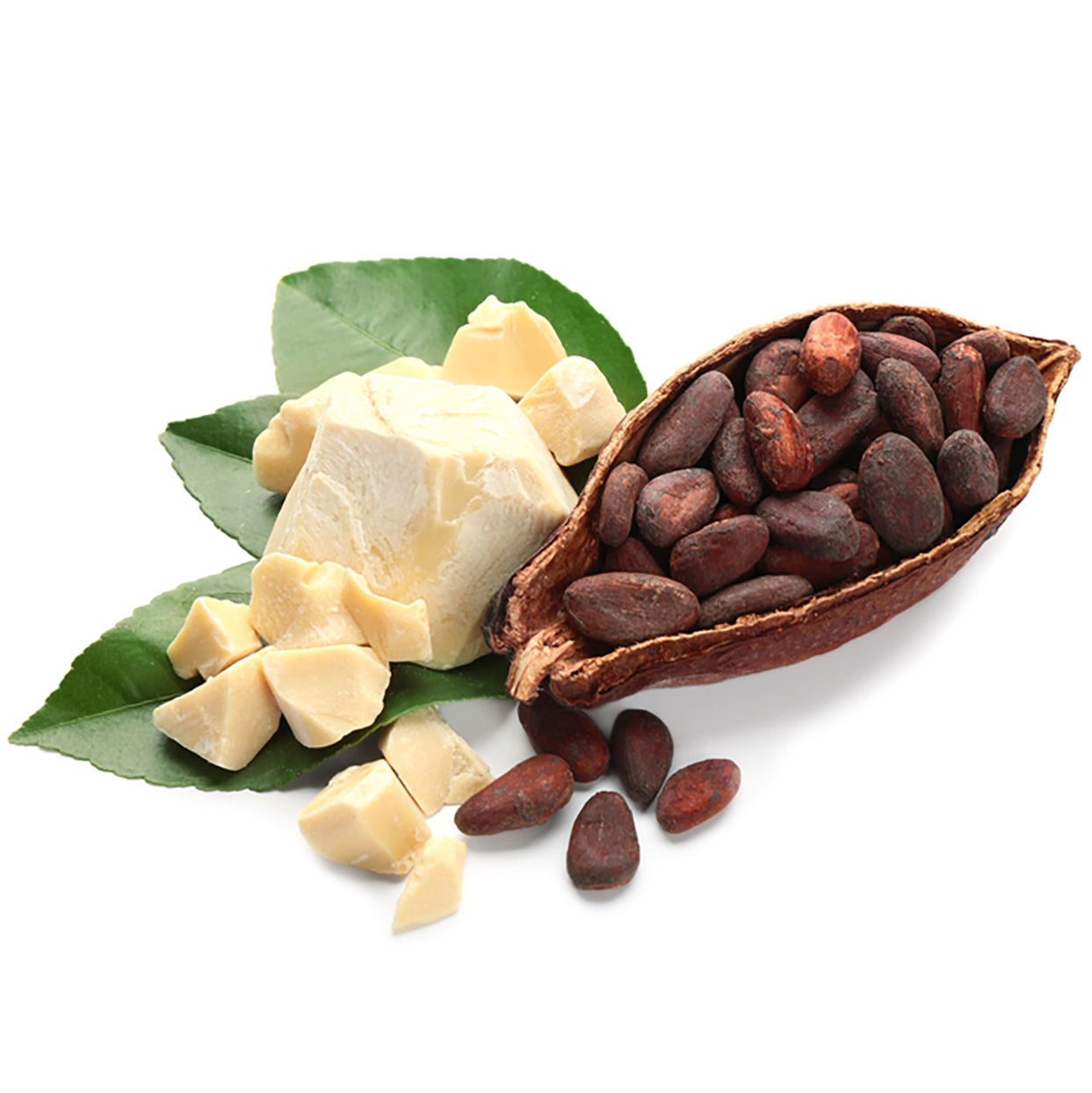 Cocoa pod, bean and butter