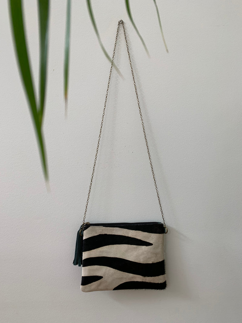 Zebra Print Leather Shoulder Bag