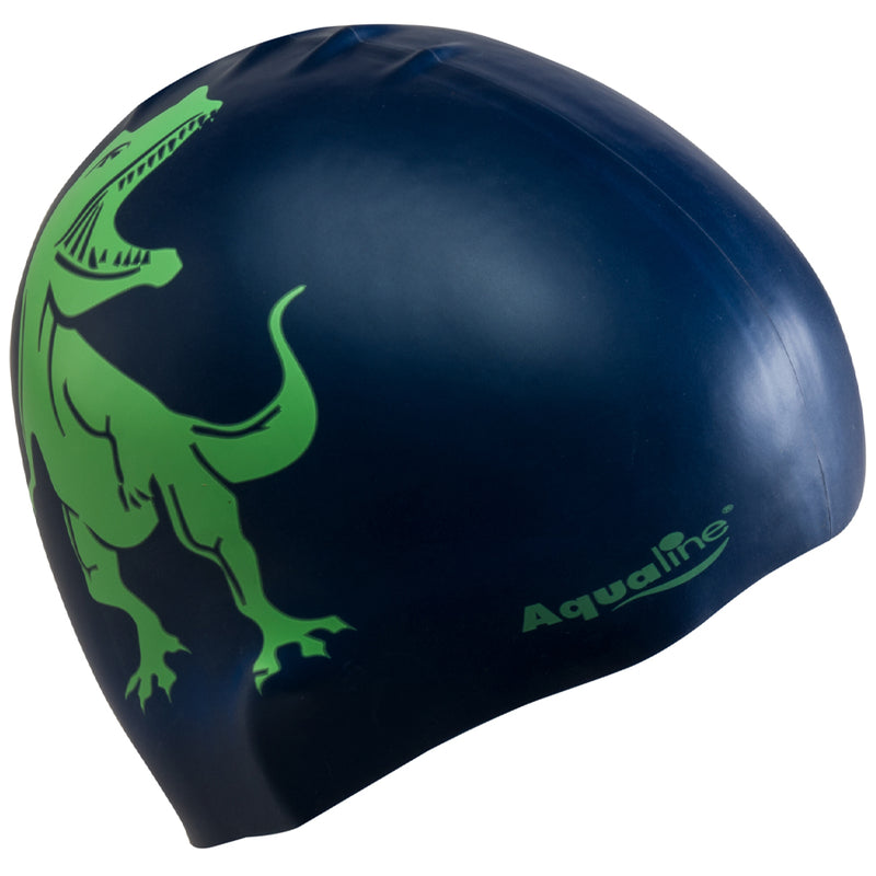 Aqualine Silicone Swimming Cap Navy Blue with Neon Green Dinoaur