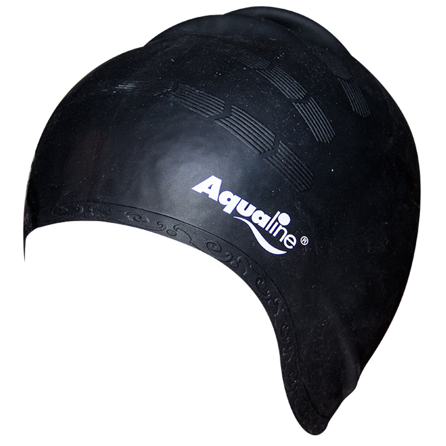 Aqualine Elite Long Hair Silicone Swimming Cap Black
